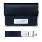 Business Card Case and Key Ring Set Black-SIUE Engraved