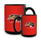 Full Color Black Mug 15oz-SIUE Cougars Official Logo