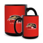 Full Color Black Mug 15oz-SIUE Cougars Official Logo