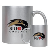 Full Color Silver Metallic Mug 11oz-SIUE Cougars Official Logo
