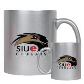 11oz Silver Metallic Ceramic Mug-SIUE Cougars Official Logo