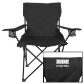 Deluxe Black Captains Chair-SIUE Cougars Stacked