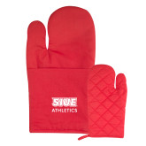 Quilted Canvas Red Oven Mitt-SIUE