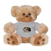 Plush Big Paw 8 1/2 inch Brown Bear w/Grey Shirt-SIUE Cougars Official Logo