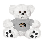 Plush Big Paw 8 1/2 inch White Bear w/Grey Shirt-SIUE Cougars Official Logo