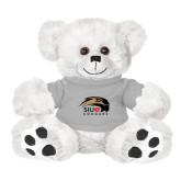 Plush Big Paw 8 1/2 inch White Bear w/Grey Shirt-SIUE Cougars Official Logo
