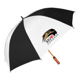 62 Inch Black/White Umbrella-SIUE Cougars Official Logo