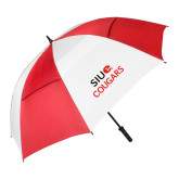 62 Inch Red/White Vented Umbrella-SIUE Cougars Stacked