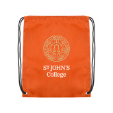 Orange Drawstring Backpack-Seal with College Name
