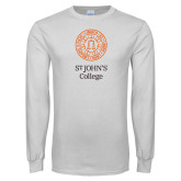 White Long Sleeve T Shirt-Seal with College Name