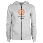 ENZA Ladies White Fleece Full Zip Hoodie-Seal with College Name