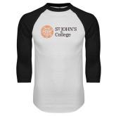 White/Black Raglan Baseball T Shirt-Lock Up Horizontal