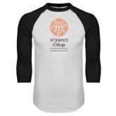 White/Black Raglan Baseball T Shirt-Annapolis Santa Fe