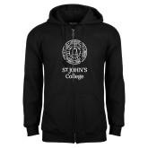 Black Fleece Full Zip Hoodie-Seal with College Name