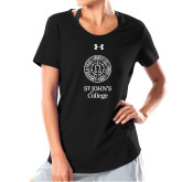 Ladies Under Armour Black Charged Cotton Tee-Seal with College Name