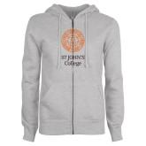ENZA Ladies Grey Fleece Full Zip Hoodie-Seal with College Name
