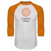 White/Orange Raglan Baseball T Shirt-Seal with College Name