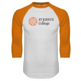White/Orange Raglan Baseball T Shirt-Lock Up Horizontal
