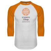 White/Orange Raglan Baseball T Shirt-Annapolis Santa Fe