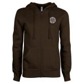 ENZA Ladies Brown Fleece Full Zip Hoodie-Seal