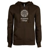 ENZA Ladies Brown Fleece Full Zip Hoodie-Seal with College Name