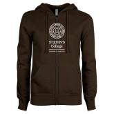 ENZA Ladies Brown Fleece Full Zip Hoodie-Annapolis Santa Fe