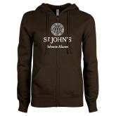 ENZA Ladies Brown Fleece Full Zip Hoodie-Johnnie Alumni