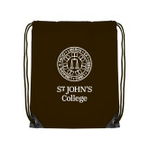 Brown Drawstring Backpack-Seal with College Name