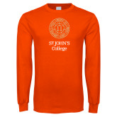 Orange Long Sleeve T Shirt-Seal with College Name