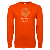 Orange Long Sleeve T Shirt-Seal Lockup Distressed