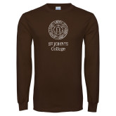 Brown Long Sleeve T Shirt-Seal Lockup Distressed