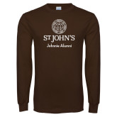 Brown Long Sleeve T Shirt-Johnnie Alumni