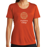 Ladies Syntrel Performance Orange Tee-Seal with College Name