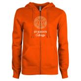 ENZA Ladies Orange Fleece Full Zip Hoodie-Seal with College Name