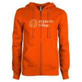 ENZA Ladies Orange Fleece Full Zip Hoodie-Lock Up Horizontal
