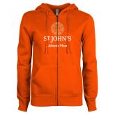ENZA Ladies Orange Fleece Full Zip Hoodie-Johnnie Mom