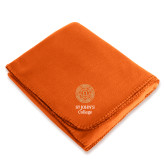 Orange Arctic Fleece Blanket-Seal with College Name