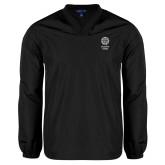 V Neck Black Raglan Windshirt-Seal with College Name
