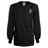 Ladies Black Snap Front Warm Up Scrub Jacket-Seal with College Name