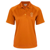 Ladies Orange Textured Saddle Shoulder Polo-Seal with College Name