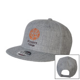 Heather Grey Wool Blend Flat Bill Snapback Hat-Seal with College Name