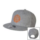Heather Grey Wool Blend Flat Bill Snapback Hat-Seal