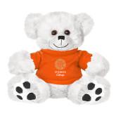Plush Big Paw 8 1/2 inch White Bear w/Orange Shirt-Seal with College Name