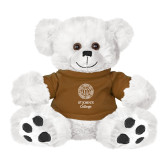Plush Big Paw 8 1/2 inch White Bear w/Brown Shirt-Seal with College Name