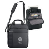 Kenneth Cole Black Vertical Checkpoint Friendly Messenger-Seal with College Name