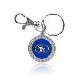 Crystal Studded Round Key Chain-SE Primary Logo