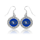 Crystal Studded Round Pendant Silver Dangle Earrings-SE Primary Logo