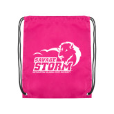 Pink Drawstring Backpack-New Primary Logo