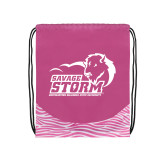 Nylon Zebra Pink/White Patterned Drawstring Backpack-New Primary Logo