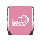 Light Pink Drawstring Backpack-New Primary Logo